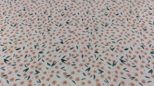 CREAM WITH BROWN FLOWER AND GREEN LEAF PRINT 100% COTTON  POPLIN