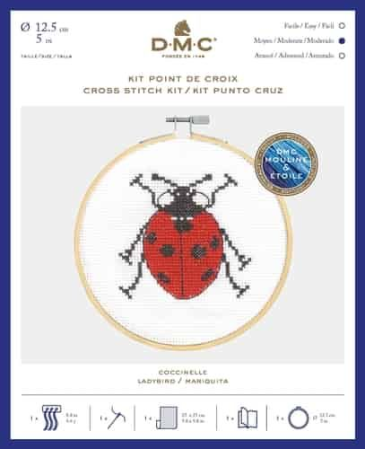 DMC CROSS STITCH KIT WITH HOOP- 'LADYBIRD'
