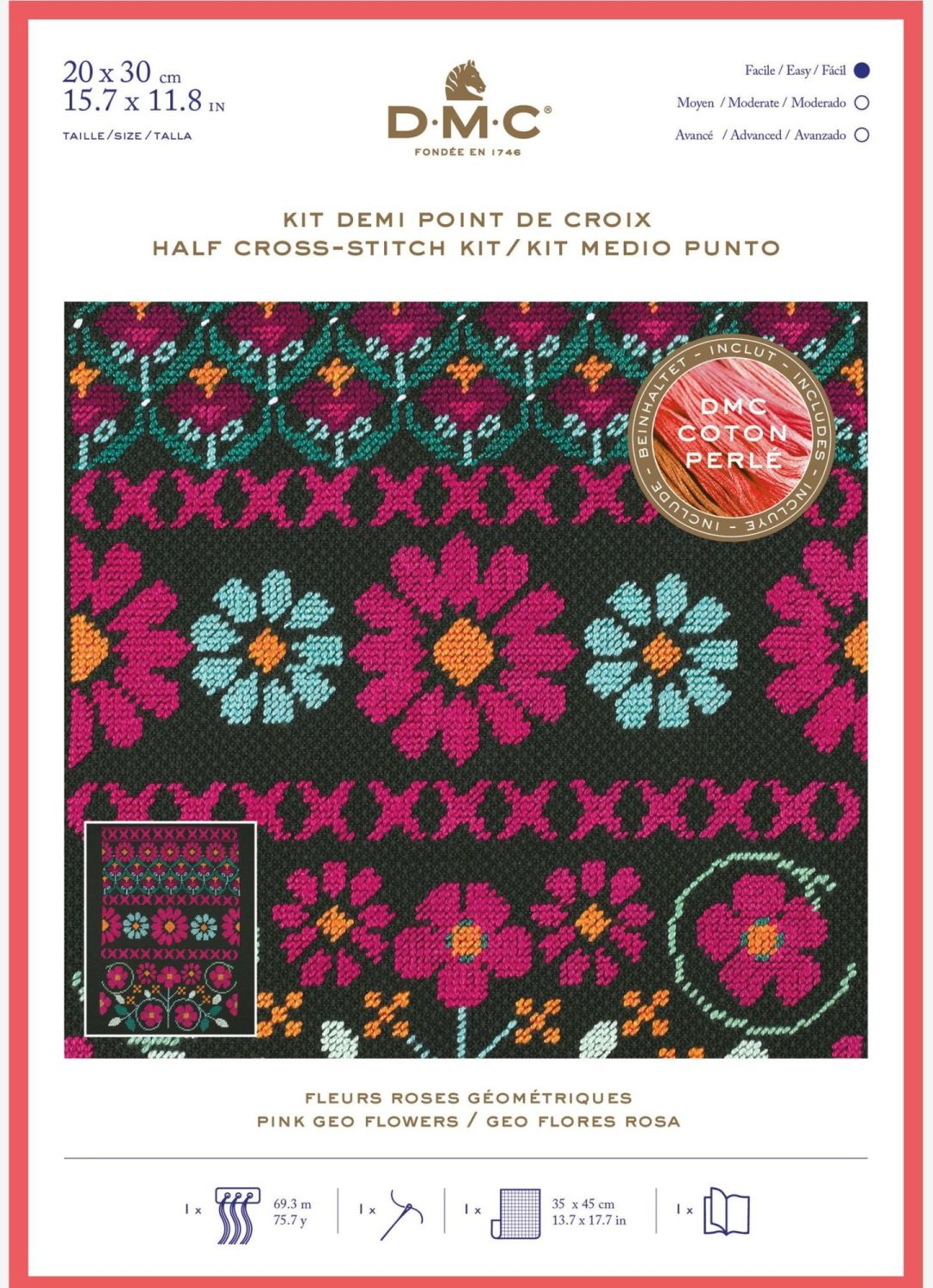 DMC HALF-CROSS STITCH - 'PINK GEO FLOWERS'