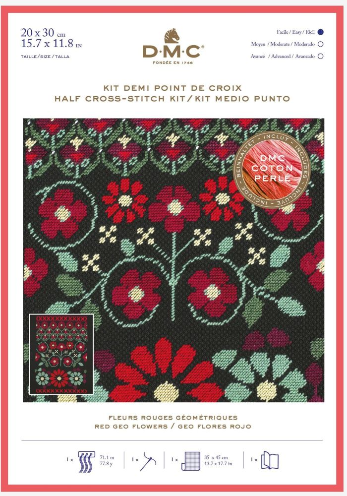 DMC HALF-CROSS STITCH - 'RED GEO FLOWERS'