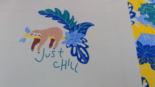 KATIA 'JUST CHILL' T-SHIRT PANEL COTTON JERSEY FABRIC PIECE
