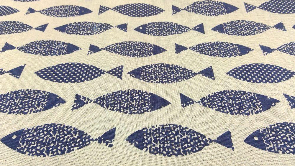 BLUE FISH LINEN STYLE CANVAS