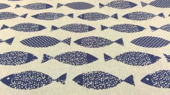 BLUE FISH LINEN STYLE CANVAS