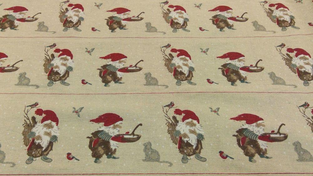 GNOME CHRISTMAS STRIPE LINEN STYLE CANVAS