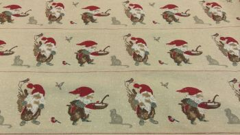 GNOME CHRISTMAS STRIPE LINEN STYLE CANVAS
