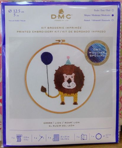 DMC CELEBRATIONS- PRINTED EMBROIDERY KIT- 'ROAR! LION'