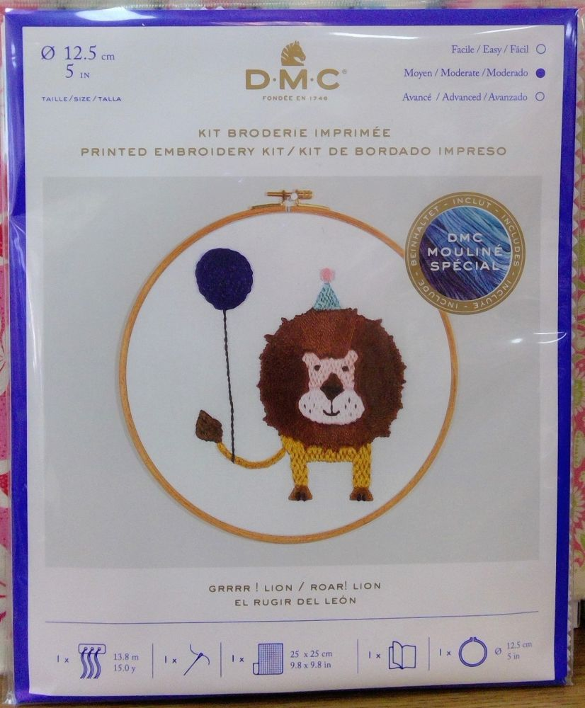 DMC CELEBRATIONS- PRINTED EMBROIDERY KIT- 'ROAR! LION'