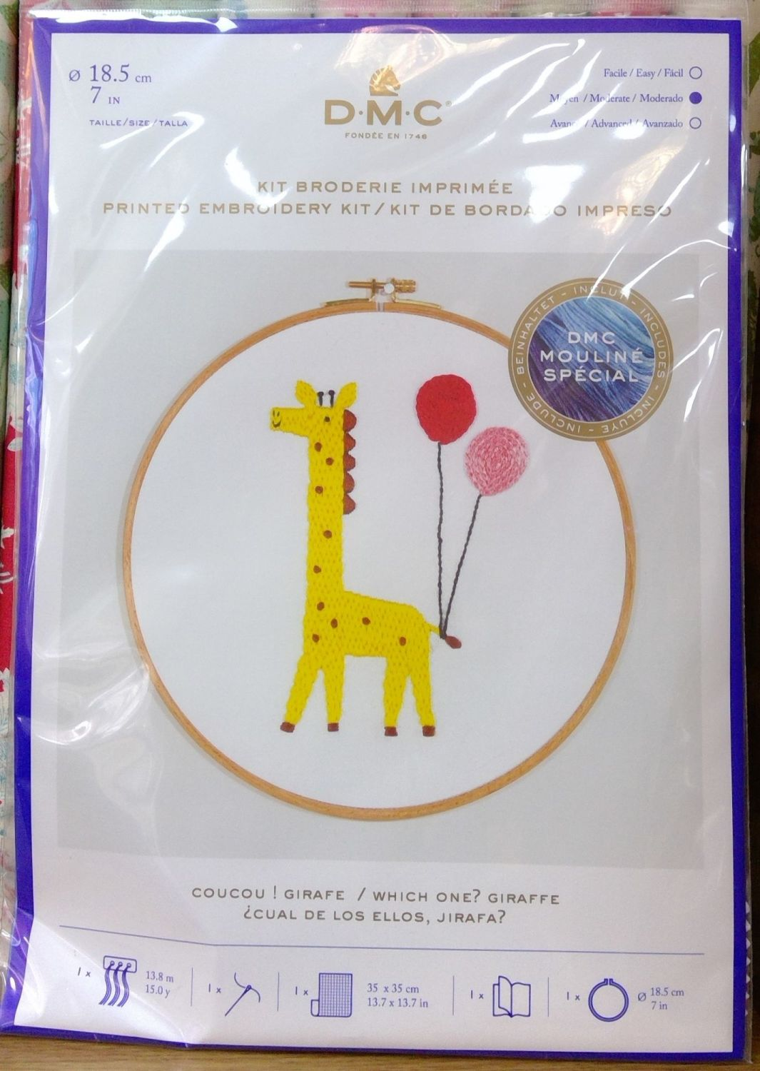 DMC CELEBRATIONS- 'WHICH ONE? GIRAFFE' PRINTED EMBROIDERY KIT