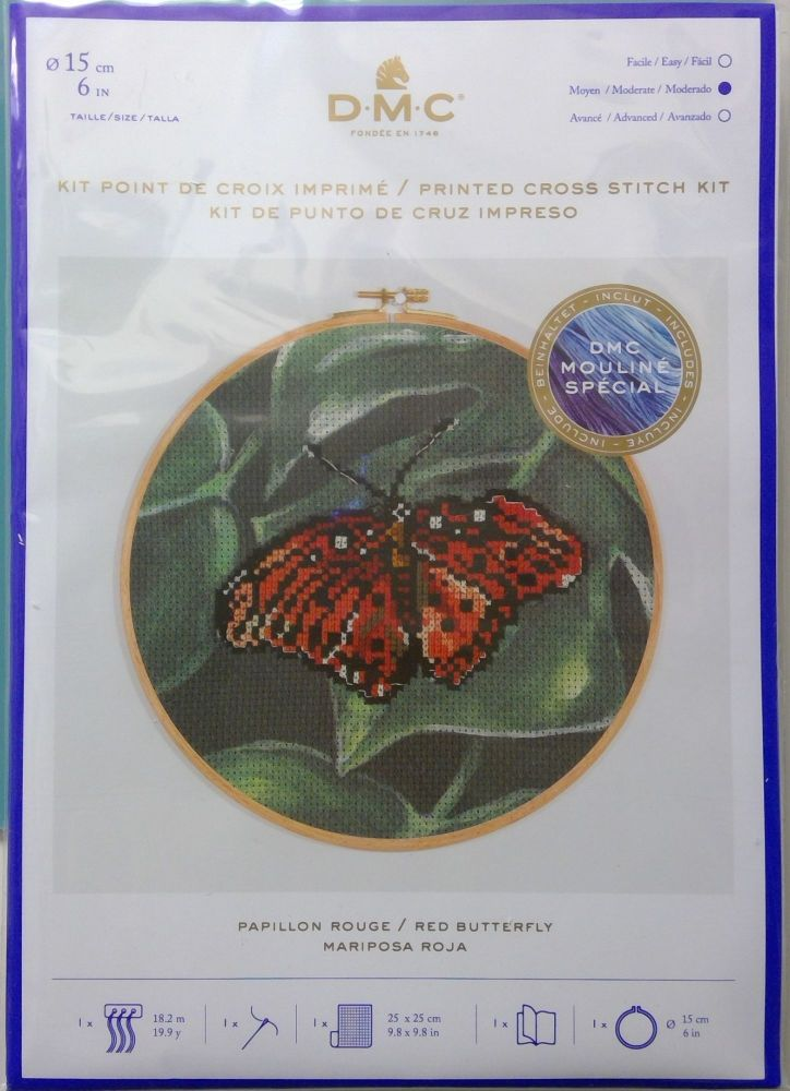 DMC CROSS STITCH - 'RED BUTTERFLY'