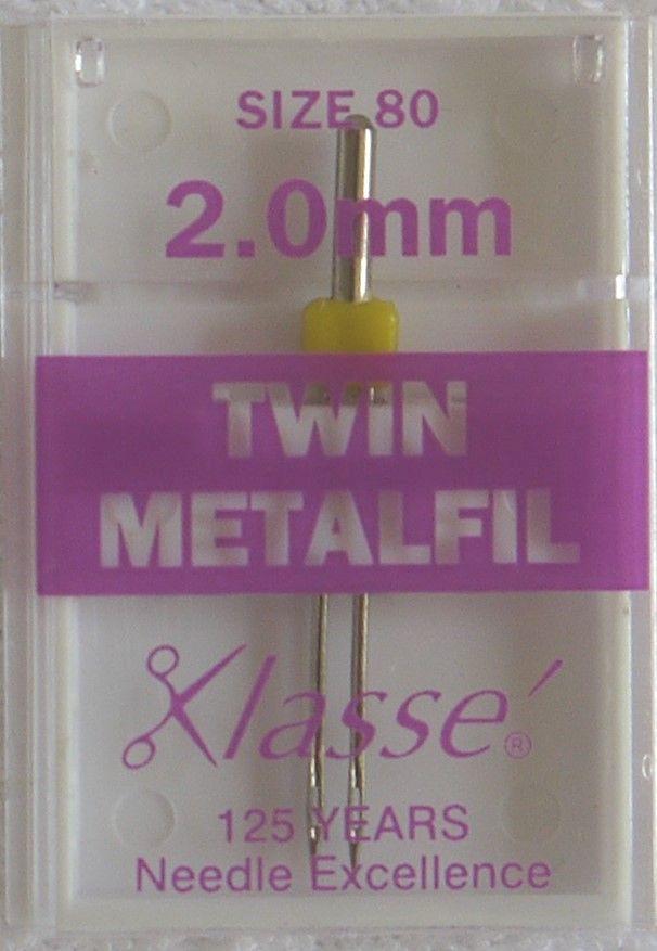 TWIN METAFIL MACHINE NEEDLES  80/12  2.0 MM