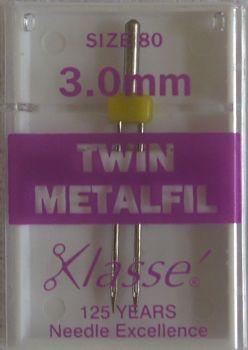 TWIN METAFIL MACHINE NEEDLES  80/12  3.0 MM
