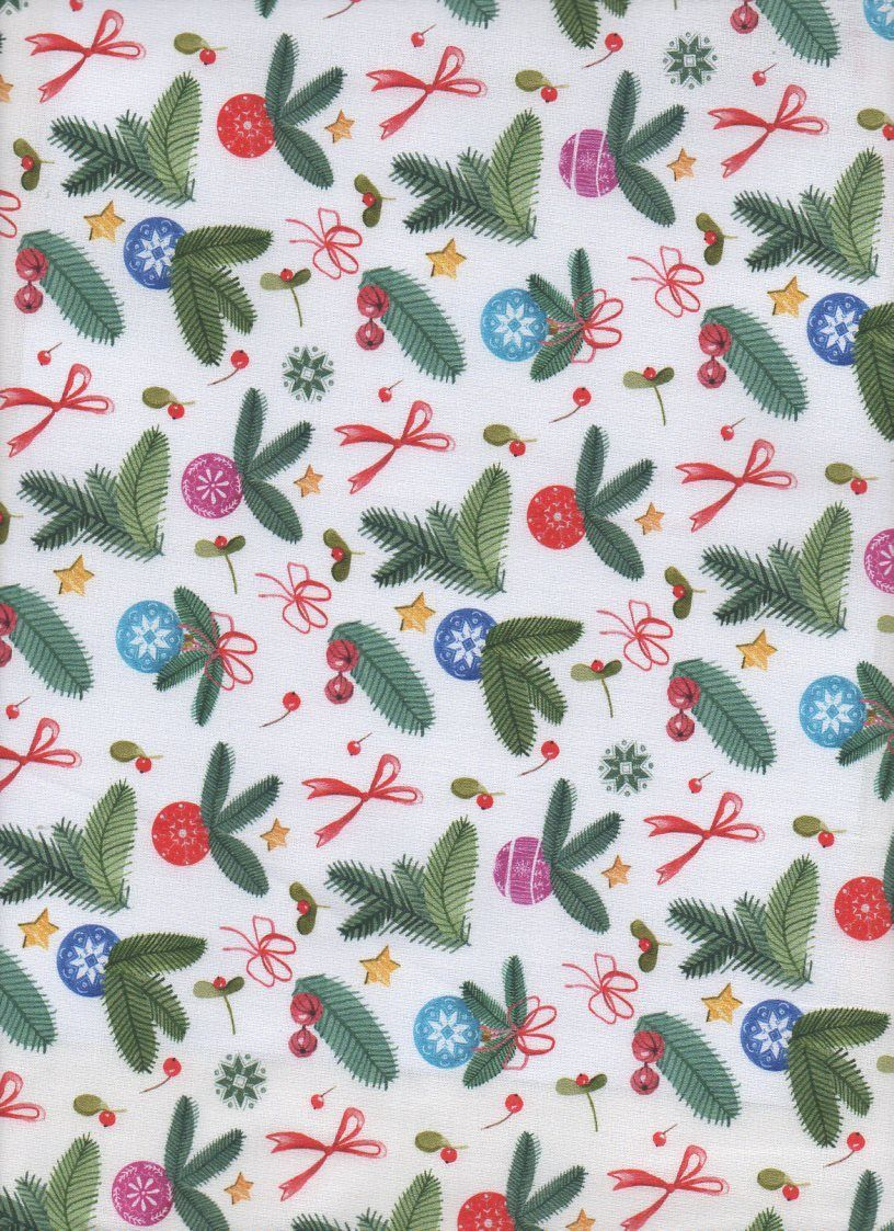 LEAVES AND BOWS CHRISTMAS FABRIC