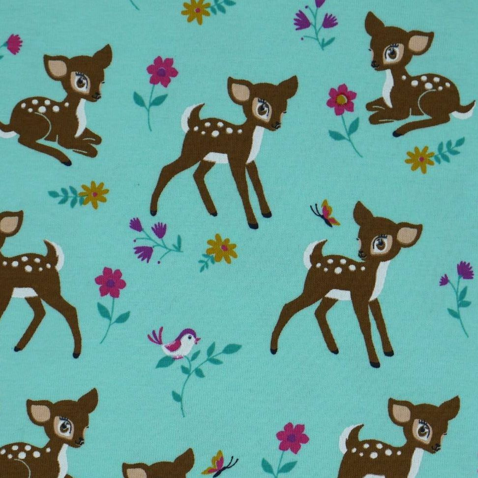 BAMBI, CUTE FAWNS ON A MINT BACKGROUND