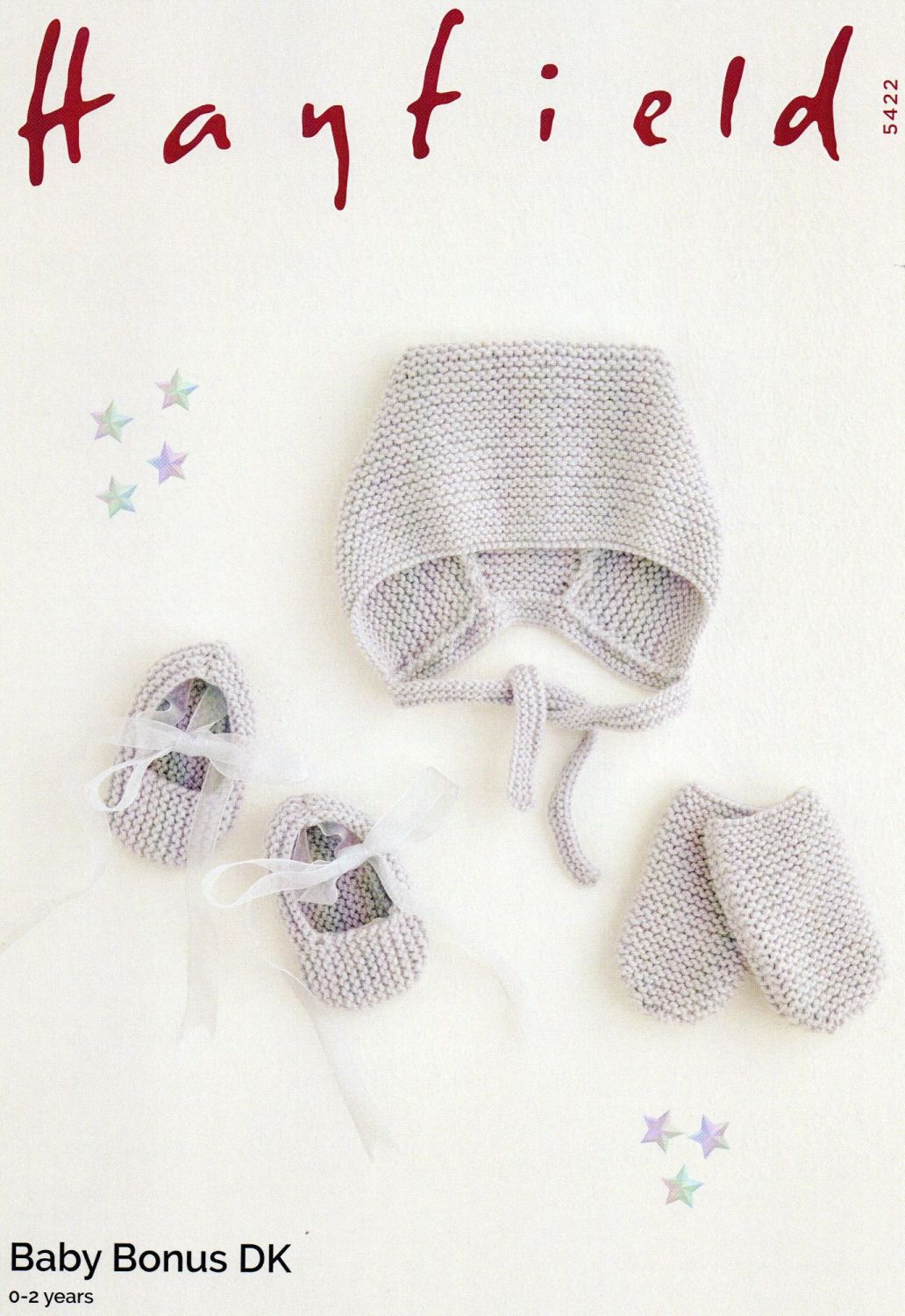 54522 - HAT, SHOES AND MITTENS BY HAYFIELD IN DOUBLE KNIT