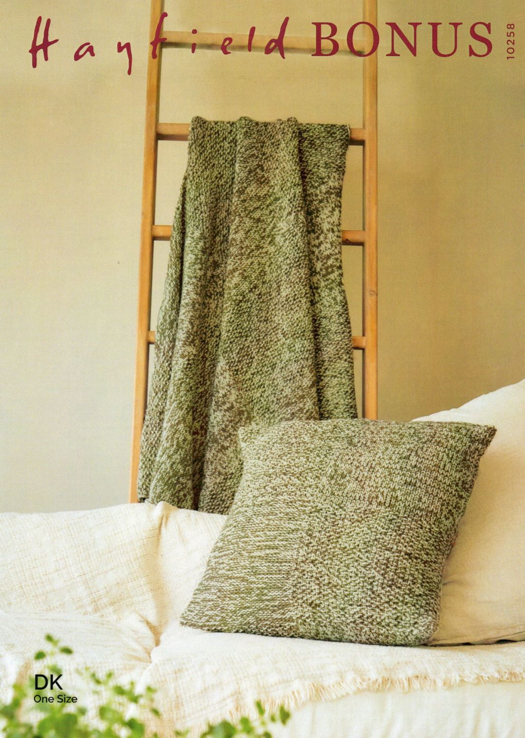 10258 - BLANKET AND CUSHION BY HAYFIELD IN DOUBLE KNIT