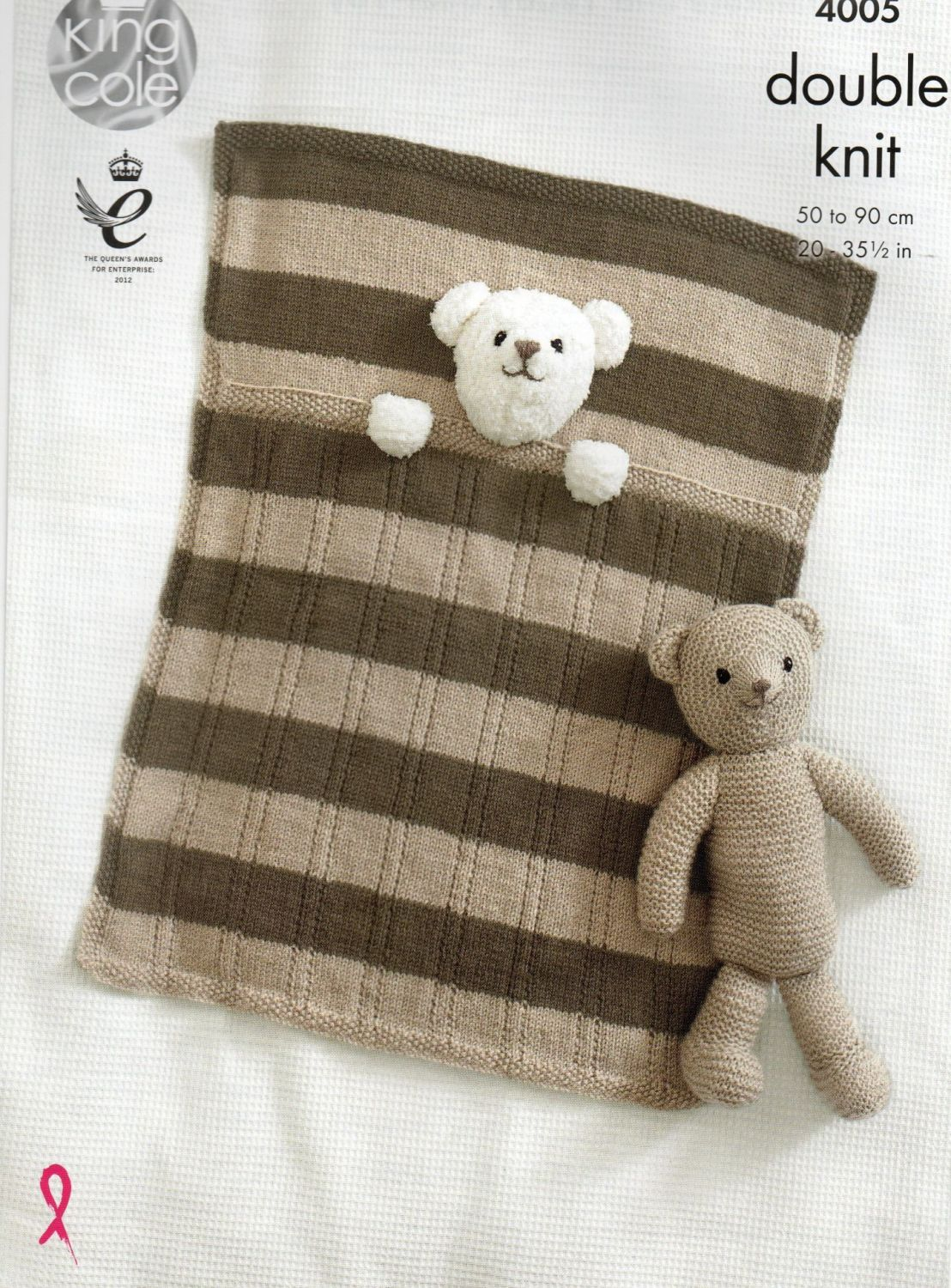 4005 - BABY BLANKETS AND TEDDY BEAR TOY BY KNIG COLE IN DOUBLE KNIT YARN