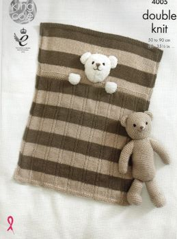 4005 - BABY BLANKETS AND TEDDY BEAR TOY BY KING  COLE IN DOUBLE KNIT YARN
