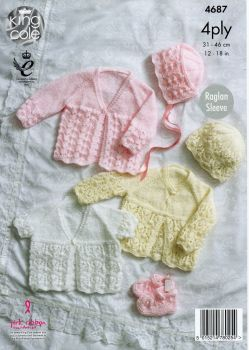4687 - MATINEE COATS, BONNET, HAT & BOOTEES BY KING COLE IN 4 PLY