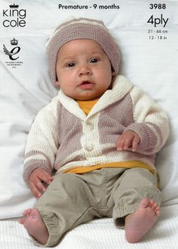 3988 - MATINEE COAT, CARDIGAN AND HATS BY KING COLE IN 4 PLY