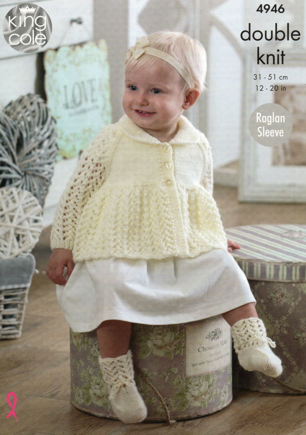 4946 - JACKET, BONNET, MITTENS, BOOTEES AND BLANKET  BY KING COLE IN DOUBLE