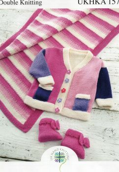 157 - JACKET, PRAM RUG, AND BOOTEES IN DOUBLE KNIT BY UK HAND KNITTING