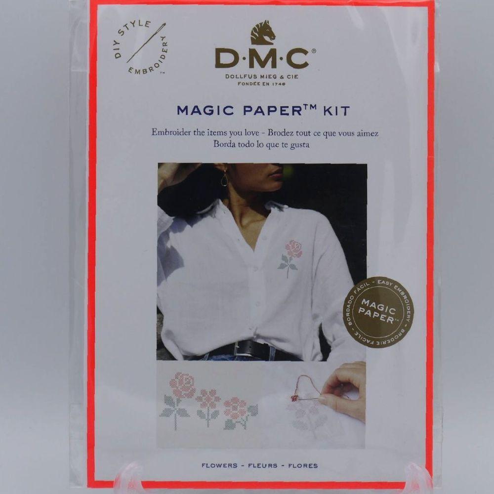 DMC MAGIC PAPER KIT- 'CROSS-STITCHED FLOWERS'