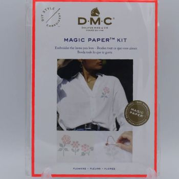 MAGIC PAPER KIT- 'CROSS-STITCHED FLOWERS' BY DMC