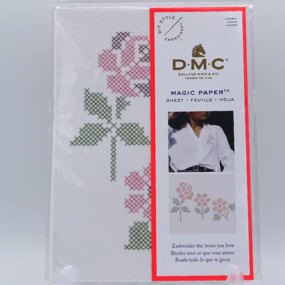 MAGIC PAPER  - 'CROSS STITCH FLOWERS' BY DMC