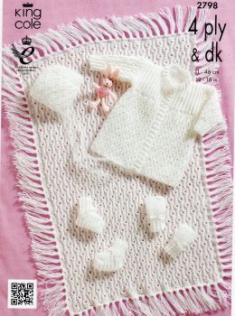 2798-  MATINEE COAT BONNET BOOTEES MITTS AND PRAM COVER IN DK OR 4 PLY  BY KING COLE