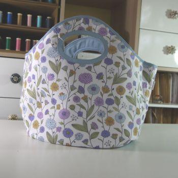 FLOWER PRINT  CRAFT BAG  WITH INTERNAL POCKETS
