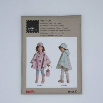 CHILDRENS WATERPROOF CAPE, HAT AND BAG PATTERN #2319-L14, DRESSMAKING PATTERN BY KATIA