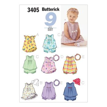 B3405- INFANTS DRESS TOP AND ROMPER ,  SEWING PATTERN