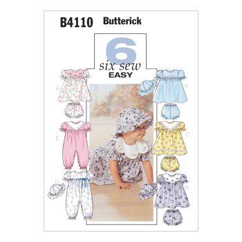 B4110- INFANTS DRESS, PANTS JUMPSUIT AND HAT, SEWING PATTERN