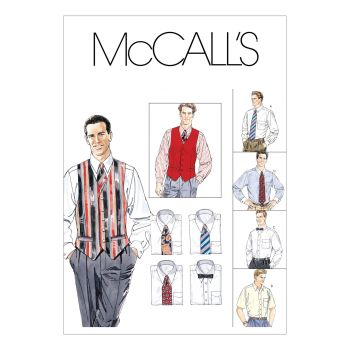 M2447 - MENS LINED VEST SHIRT AND TIE, SEWING PATTERN
