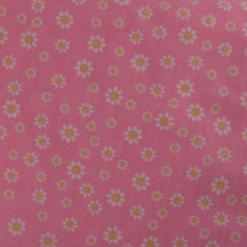 POLY-COTTON PINK WITH WHITE FLOWER PATTERN