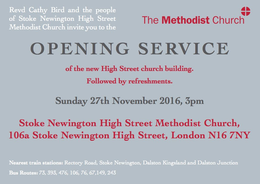 stoke newington high street methodist church opening service invite