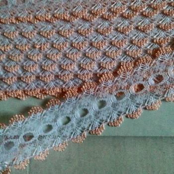 Eyelet Lace - White with Peach (2 metres)