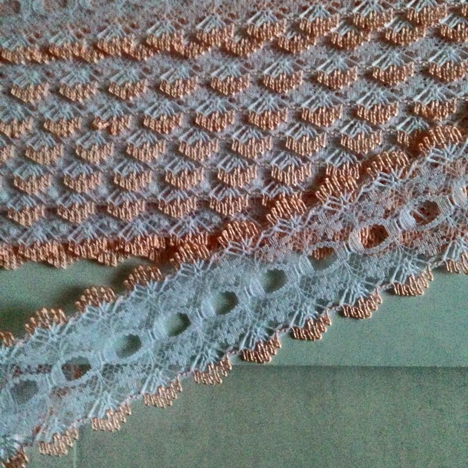 Eyelet Lace - White with Peach (per metre)
