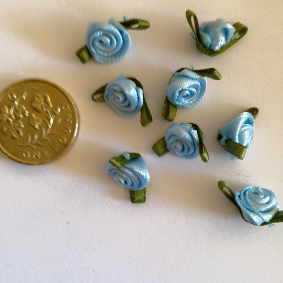 Pale Blue Ribbon Roses -Small (pack of 8)