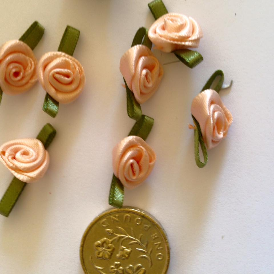 Peach Ribbon Roses -Small (pack of 8)
