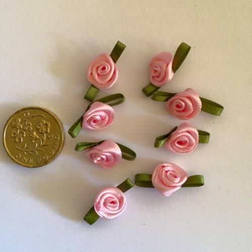 Pink Ribbon Roses -Small (pack of 8)