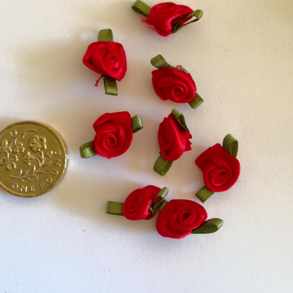 Red Ribbon Roses -Small (pack of 8)