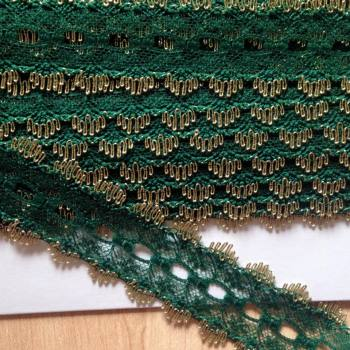 Eyelet Lace - Green with Gold -(per metre)