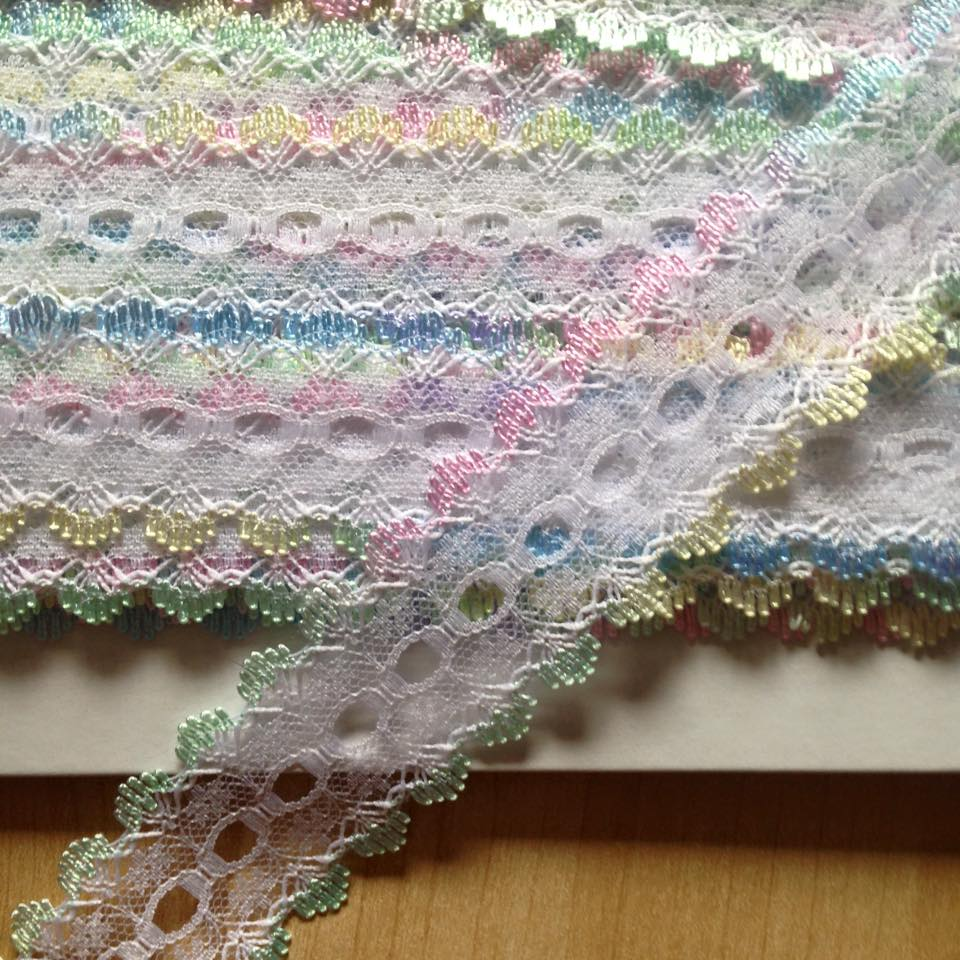 Eyelet Lace - White with Rainbow (per metre)
