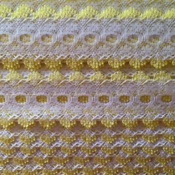 Eyelet Lace - White with Lemon - Per Metre