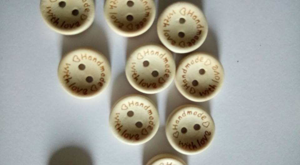 Handmade with Love Wooden Button 15mm (each)