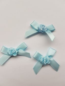 Blue Ribbon with Rose Centre (Pack of 8)