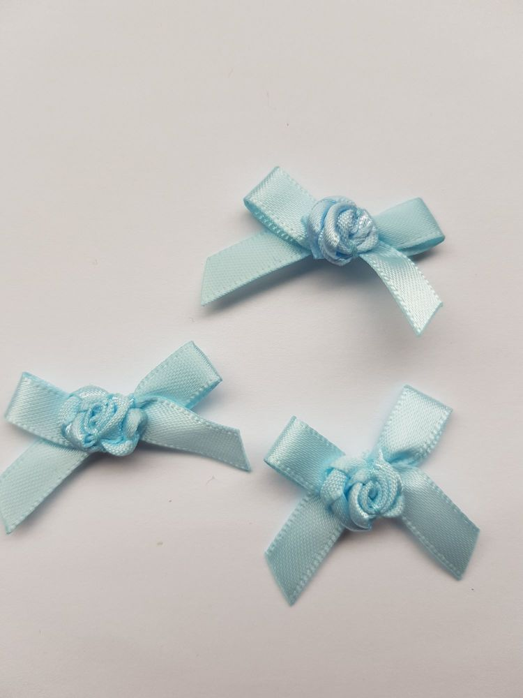 Blue Ribbon with Rose Centre (each)