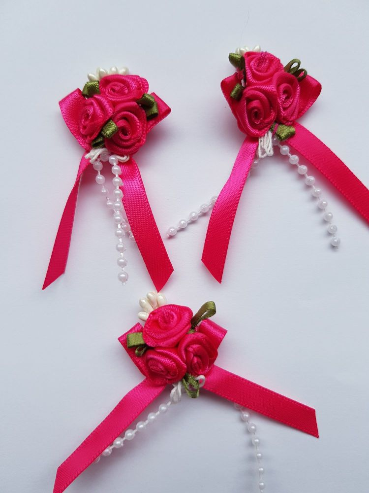 Cerise Rose Cluster (each)
