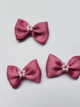 Dusky Pink Bow with Bead Centre (each)